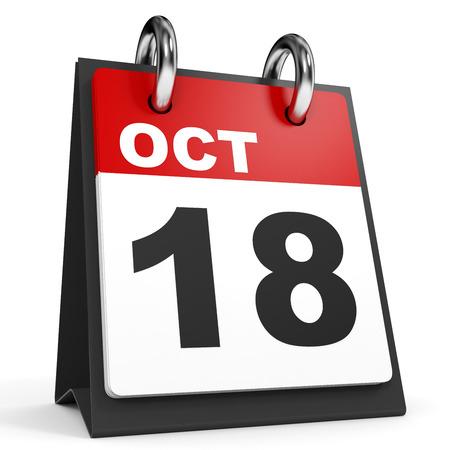 18: October 18. Calendar on white background. 3D illustration.