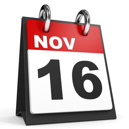 sixteenth note: November 16. Calendar on white background. 3D illustration.