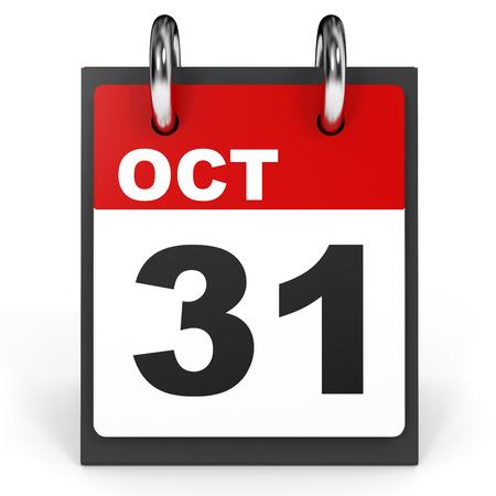 31: October 31. Calendar on white background. 3D illustration.