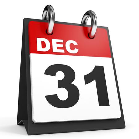December 31. Calendar on white background. 3D illustration.