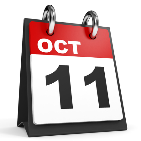 number eleven: October 11. Calendar on white background. 3D illustration. Stock Photo
