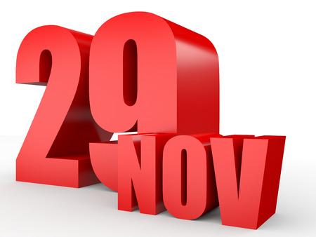 twenty ninth: November 29. Text on white background. 3d illustration.
