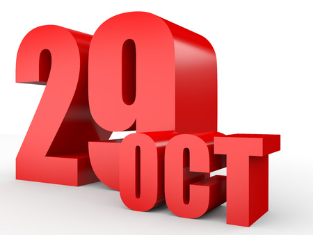 ninth: October 29. Text on white background. 3d illustration.