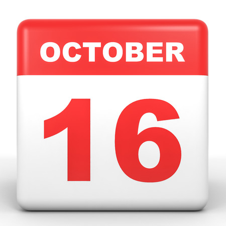 sixteenth note: October 16. Calendar on white background. 3D illustration. Stock Photo