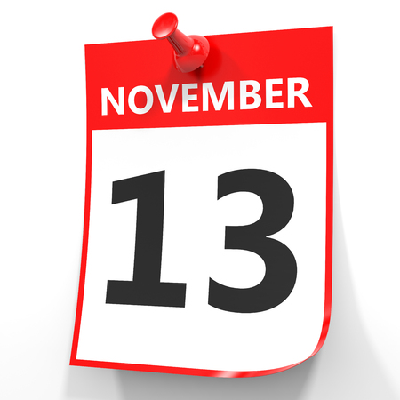 13th: November 13. Calendar on white background. 3D illustration. Stock Photo