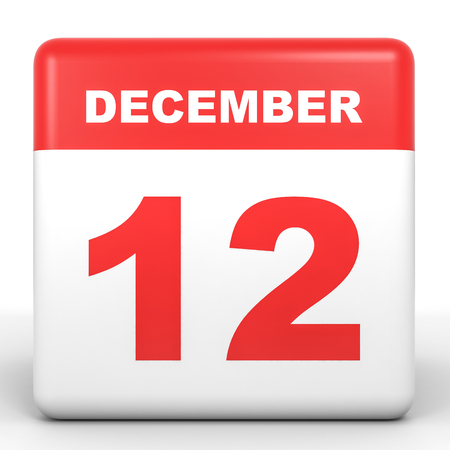 12: December 12. Calendar on white background. 3D illustration.
