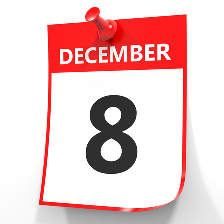 december: December 8. Calendar on white background. 3D illustration.