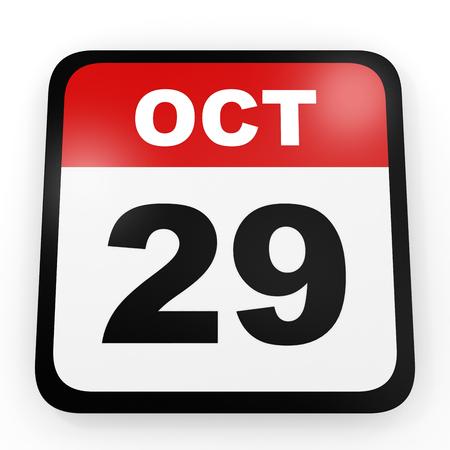 twenty ninth: October 29. Calendar on white background. 3D illustration. Stock Photo
