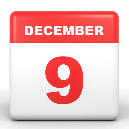 9th: December 9. Calendar on white background. 3D illustration.