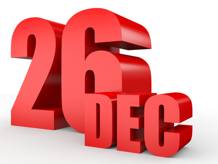 26: December 26. Text on white background. 3d illustration. Stock Photo
