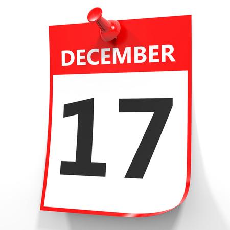 December 17. Calendar on white background. 3D illustration. 版權商用圖片