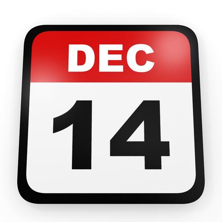 14th: December 14. Calendar on white background. 3D illustration. Stock Photo