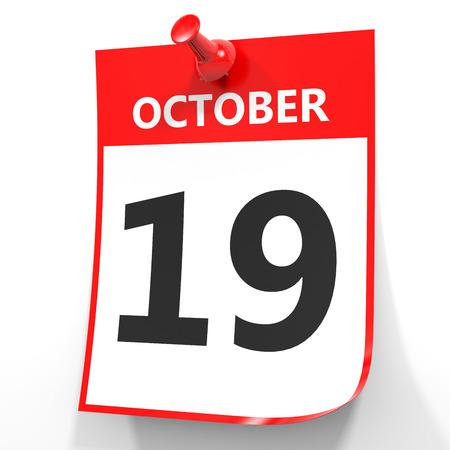 19: October 19. Calendar on white background. 3D illustration. Stock Photo
