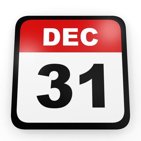 31st: December 31. Calendar on white background. 3D illustration.