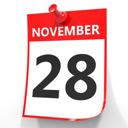 28: November 28. Calendar on white background. 3D illustration.