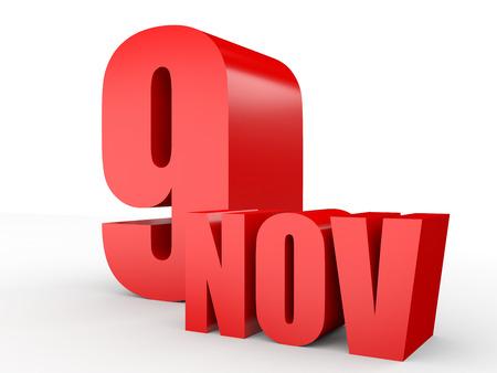 November 9. Text on white background. 3d illustration.