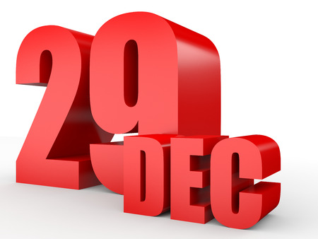 December 29. Text on white background. 3d illustration.