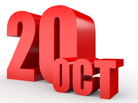 October 20. Text on white background. 3d illustration.