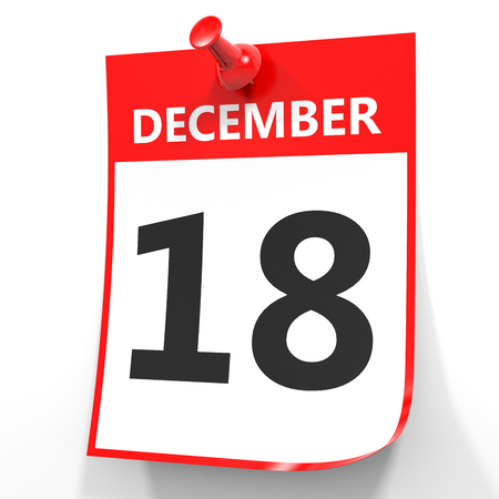 18: December 18. Calendar on white background. 3D illustration. Stock Photo