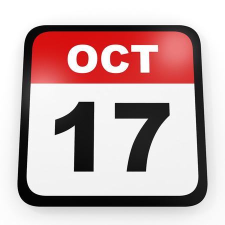 17: October 17. Calendar on white background. 3D illustration.