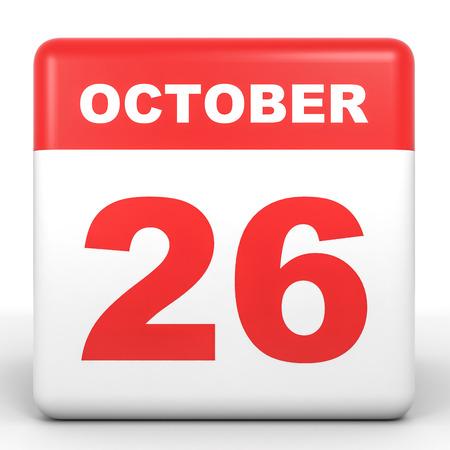twenty sixth: October 26. Calendar on white background. 3D illustration.