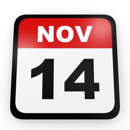 14th: November 14. Calendar on white background. 3D illustration. Stock Photo
