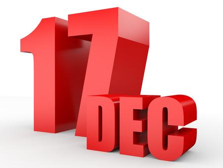 17: December 17. Text on white background. 3d illustration.