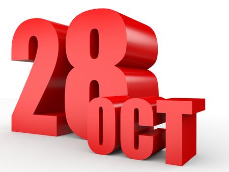 28: October 28. Text on white background. 3d illustration.