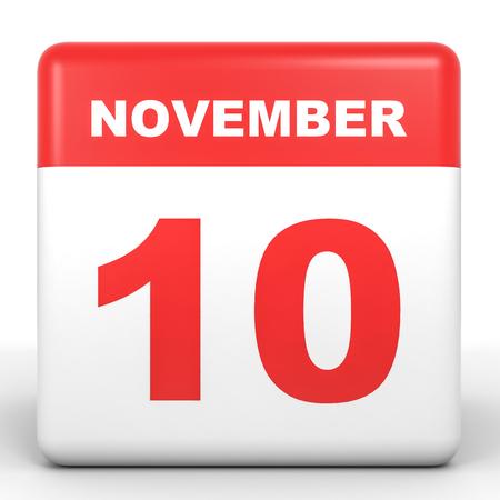 tenth: November 10. Calendar on white background. 3D illustration.