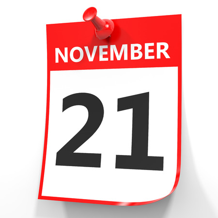 21: November 21. Calendar on white background. 3D illustration. Stock Photo