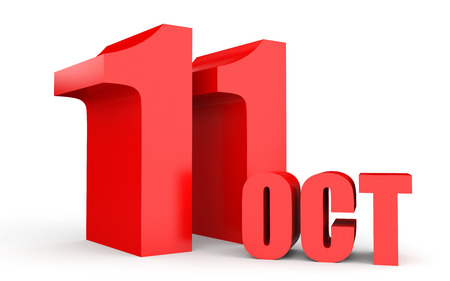 number eleven: October 11. Text on white background. 3d illustration. Stock Photo