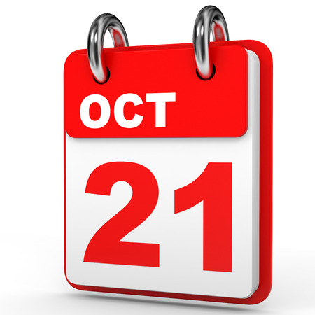 21: October 21. Calendar on white background. 3D illustration. Stock Photo