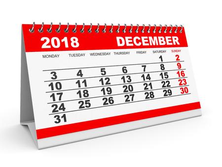 calendario diciembre: Calendar December 2018 on white background. 3D illustration.