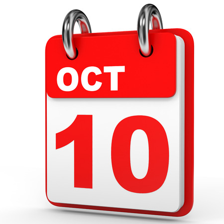 tenth: October 10. Calendar on white background. 3D illustration.
