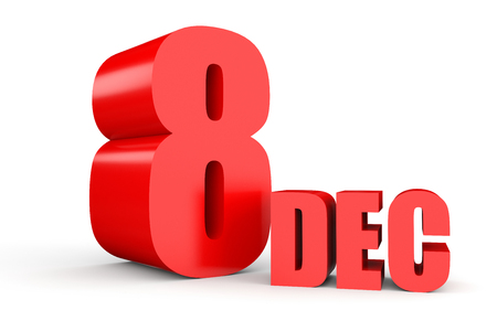 eighth: December 8. Text on white background. 3d illustration. Stock Photo