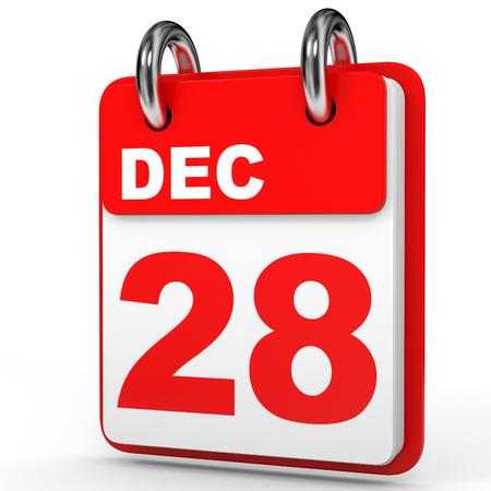 December 28. Calendar on white background. 3D illustration.