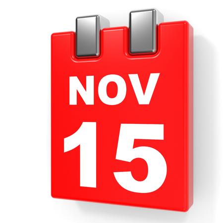 November 15. Calendar on white background. 3D illustration.