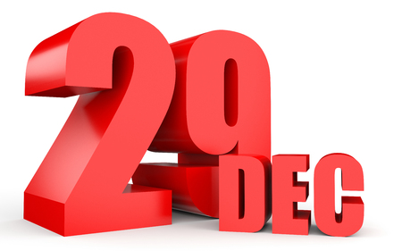 ninth: December 29. Text on white background. 3d illustration.