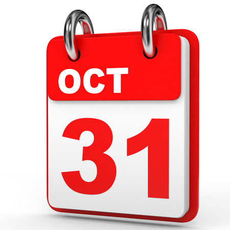 31st: October 31. Calendar on white background. 3D illustration.