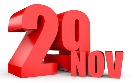 November 29. Text on white background. 3d illustration.