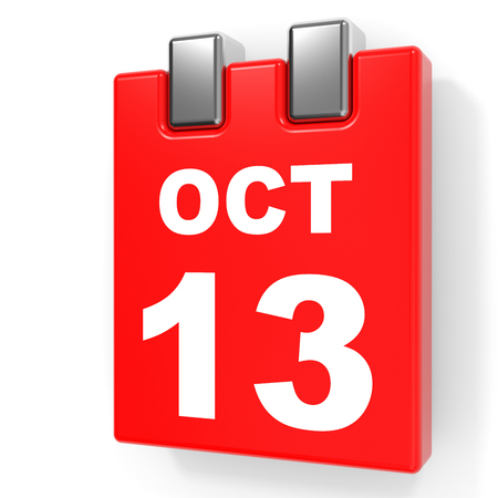 13th: October 13. Calendar on white background. 3D illustration. Stock Photo