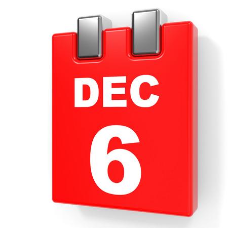 December 6. Calendar on white background. 3D illustration.