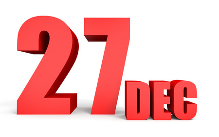 December 27. Text on white background. 3d illustration.
