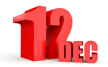number twelve: December 12. Text on white background. 3d illustration. Stock Photo
