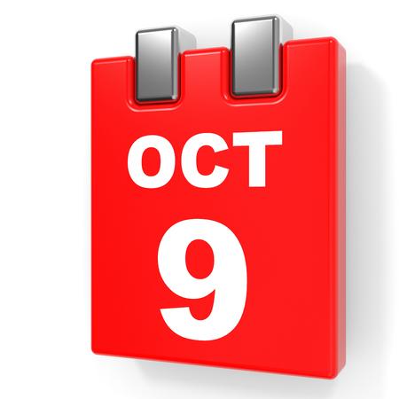 October 9. Calendar on white background. 3D illustration.