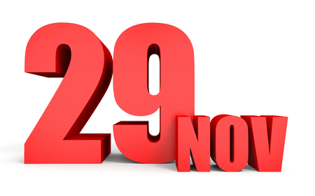 ninth: November 29. Text on white background. 3d illustration.