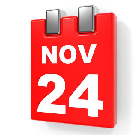 November 24. Calendar on white background. 3D illustration. Stock Photo
