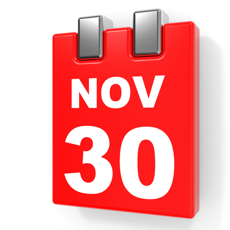 November 30. Calendar on white background. 3D illustration.