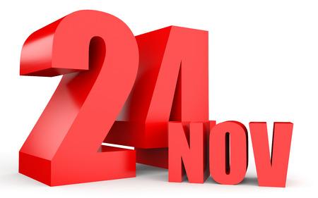 November 24. Text on white background. 3d illustration.