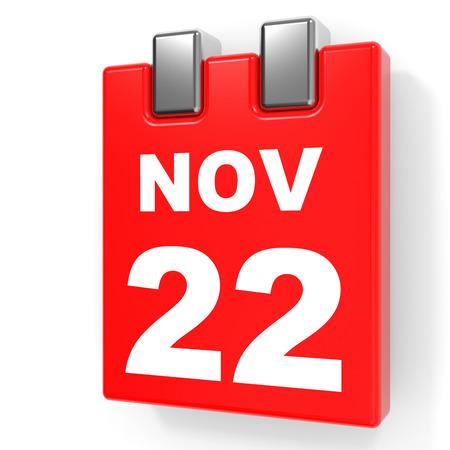 2 november: November 22. Calendar on white background. 3D illustration.